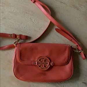 Orange Tory Burch leather cross body bag